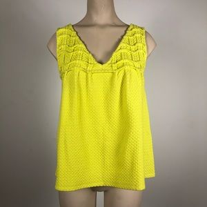 Anthropologie Deletta Neon Yellow Waffle Knit Tank